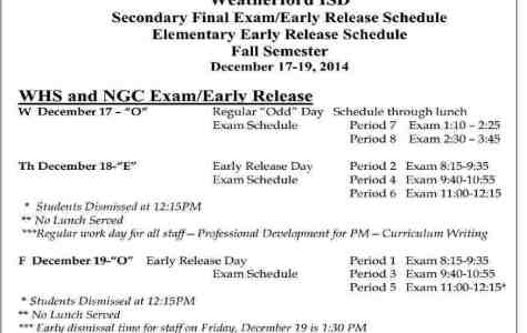 WHS Begins Finals Wed, Dec. 17