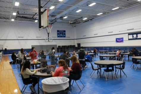 Students eating lunch in Gym C and using dividers