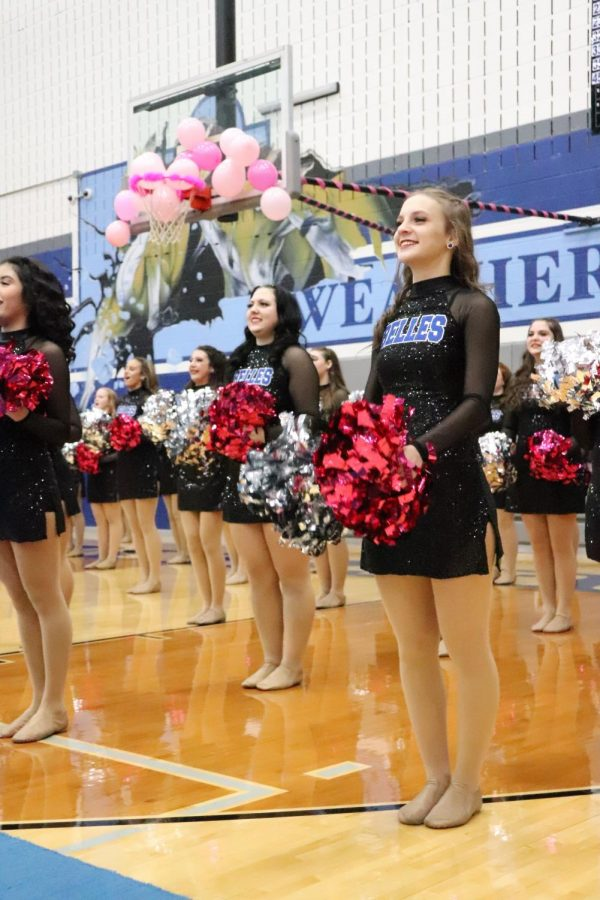 Blue Belles Support Pink Out with Bright Poms